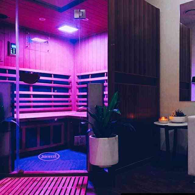 coloured lights in a Jacuzzi Infrared Sauna in Whitby, Ontario